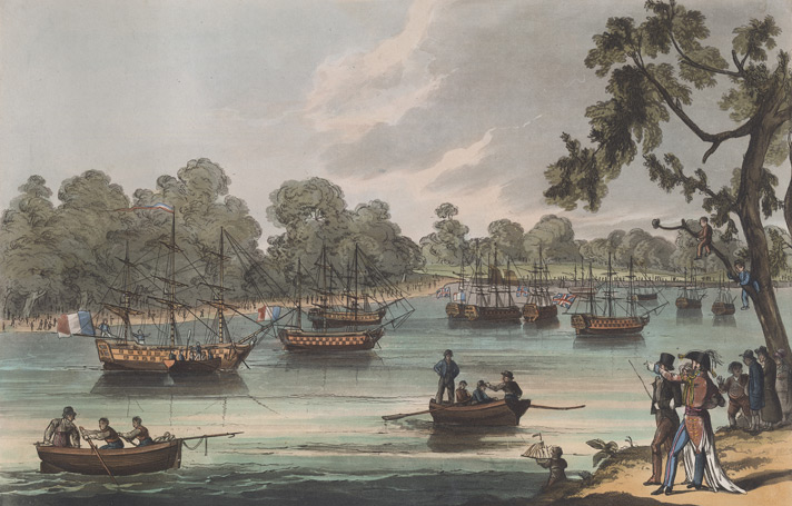 View in Hyde Park with the Fleet at anchor on the Serpentine River